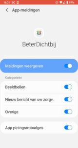 BeterDichtbij Android meldingen checken